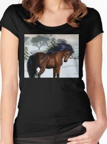 Winters Day .. a stallion in the snow Women's Fitted Scoop T-Shirt