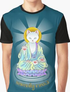 Serenity Meow Buddha Cat Graphic T-Shirt
