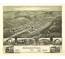 Aerial Map of Girardville Pennsylvania (1889) Photographic Print