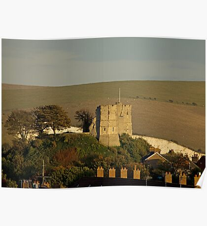 Lewes Castle in evening sun Poster