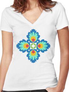 Folklore Rythmes Kaleidoscope Women's Fitted V-Neck T-Shirt