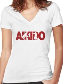 Aikido Women's Fitted V-Neck T-Shirt