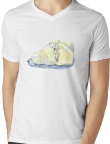 polar bear and young bear Mens V-Neck T-Shirt