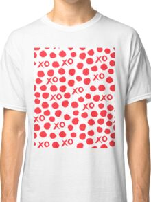 XOXO Love // hearts dots valentines day red and white by andrea lauren Classic T-Shirt