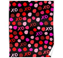 XOXO Love // hearts dots valentines day reds pastel and white by andrea lauren Poster