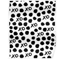 XOXO Love // hearts dots valentines day black and white by andrea lauren Poster