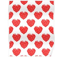 Love Heart geometric valentines day red and white minimal abstract valentine Poster