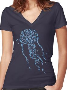 La Méduse, Jellyfish Women's Fitted V-Neck T-Shirt