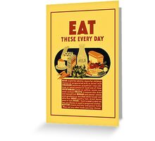1940 Eat healthy food school poster Greeting Card