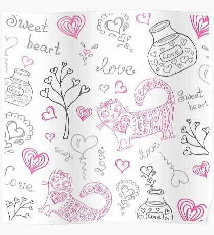vector background with different cute animals Poster