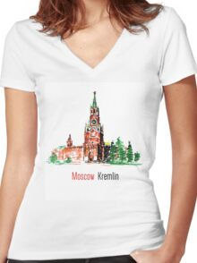 Kremlin, Red Square, Moscow, Russia Women's Fitted V-Neck T-Shirt