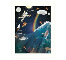 Intergalactic Undersea Pizza Party Art Print