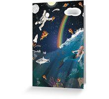 Intergalactic Undersea Pizza Party Greeting Card
