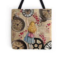 Alice In Wonderland Travelling in Time Tote Bag