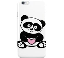 Little cute panda with heart iPhone Case/Skin