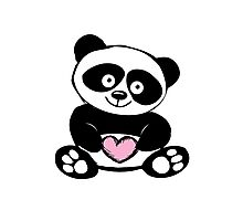 Little cute panda with heart Photographic Print