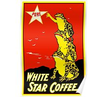 Retro vintage White Star Coffee ad, frogs Poster