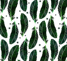 Pattern Of Feathers, Plumage, Stars - Green White by sitnica