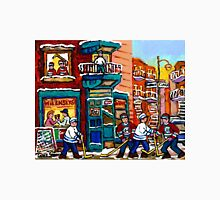 QUEBEC ART WILENSKY'S DINER WITH HOCKEY GAME MONTREAL CITY SCENE CANADIAN ART Unisex T-Shirt
