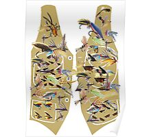 Fly fishing vest with lots of fishing flys Poster