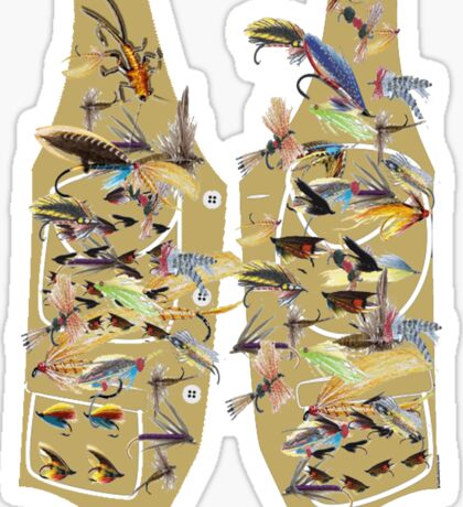 Fly fishing vest with lots of fishing flys Sticker