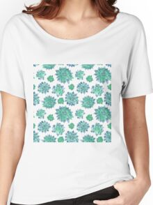 Watercolor Succulent Pattern  Women's Relaxed Fit T-Shirt