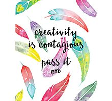 watercolor feathers creativity quote Photographic Print