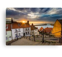 Whitby Sunset Steps Canvas Print