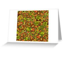 Bright background with diverse leaves and flowers Greeting Card