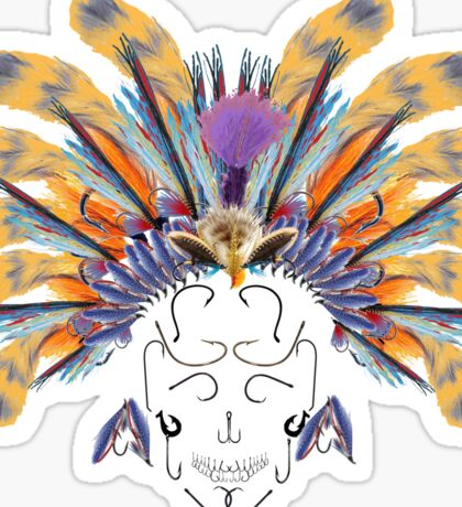 Indian flys fishing head dress with askull of hooks Sticker