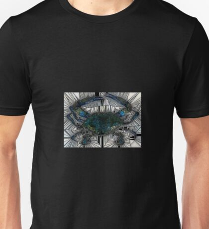 Black and White Mosaic Blue Crab Unisex T-Shirt