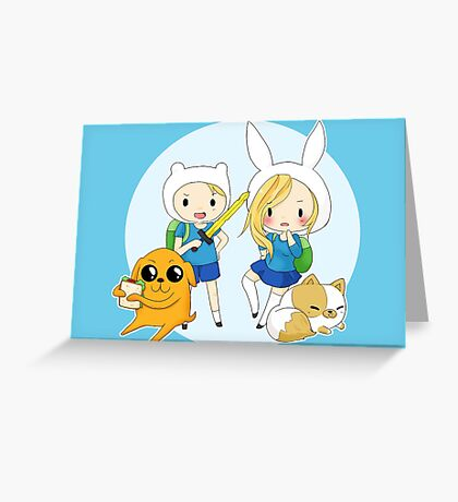 Finn, Jacke, Fionna and Cake Greeting Card
