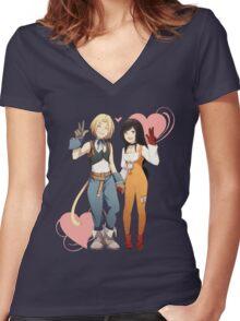 Gidan and Garnet Final Fantasy IX Women's Fitted V-Neck T-Shirt