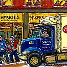 QUEBEC ARTIST PAINTS BOULANGERIE CHESKIE'S BAKERY MONTREAL WITH HOCKEY AND STREIT'S TRUCK CANADIAN ART by Carole  Spandau