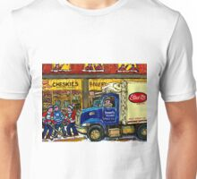 QUEBEC ARTIST PAINTS BOULANGERIE CHESKIE'S BAKERY MONTREAL WITH HOCKEY AND STREIT'S TRUCK CANADIAN ART Unisex T-Shirt