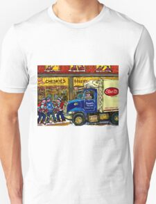 QUEBEC ARTIST PAINTS BOULANGERIE CHESKIE'S BAKERY MONTREAL WITH HOCKEY AND STREIT'S TRUCK CANADIAN ART T-Shirt
