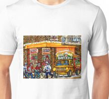 CANADIAN PAINTING MONTREAL GROCER WITH CHEF BOYARDEE TRUCK WITH HOCKEY ART BY QUEBEC ARTIST CAROLE SPANDAU Unisex T-Shirt