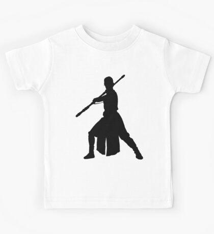 Rey - Fighting Stance Silhouette Kids Tee