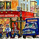 MONTREAL ART BOUCHERIE MEHADRIN'S BUTCHER SHOP WITH HOCKEY AND DELIVERY TRUCK CANADIAN PAINTING by Carole  Spandau