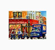 MONTREAL ART BOUCHERIE MEHADRIN'S BUTCHER SHOP WITH HOCKEY AND DELIVERY TRUCK CANADIAN PAINTING Unisex T-Shirt