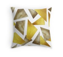 Gold and bronze geometrical print Throw Pillow