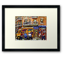 THE COMIC BOOK SHOP CANADIAN URBAN SCENES MONTREAL ART QUEBEC PAINTINGS HOCKEY ART WITH DELIVERY TRUCK Framed Print
