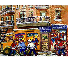THE COMIC BOOK SHOP CANADIAN URBAN SCENES MONTREAL ART QUEBEC PAINTINGS HOCKEY ART WITH DELIVERY TRUCK Photographic Print