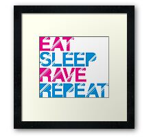 Eat Sleep Rave Repeat by Stencil8 Framed Print