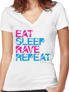Eat Sleep Rave Repeat by Stencil8 Women's Fitted V-Neck T-Shirt