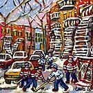 SNOWY DAY HOCKEY GAME CANADIAN ART MONTREAL WINTER SCENE BY QUEBEC ARTIST CAROLE SPANDAU by Carole  Spandau