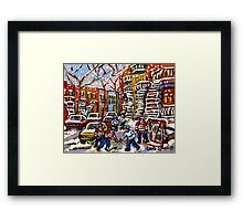 SNOWY DAY HOCKEY GAME CANADIAN ART MONTREAL WINTER SCENE BY QUEBEC ARTIST CAROLE SPANDAU Framed Print