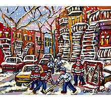 SNOWY DAY HOCKEY GAME CANADIAN ART MONTREAL WINTER SCENE BY QUEBEC ARTIST CAROLE SPANDAU Photographic Print