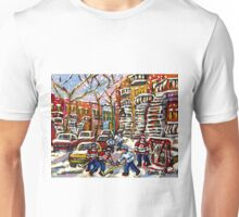 SNOWY DAY HOCKEY GAME CANADIAN ART MONTREAL WINTER SCENE BY QUEBEC ARTIST CAROLE SPANDAU Unisex T-Shirt