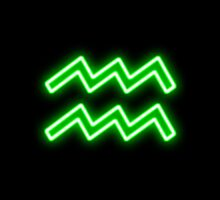 Bright Neon Green - Aquarius the Water Bearer Star Sign by podartist